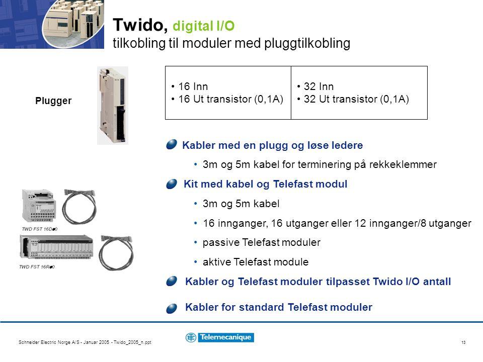 Schneider Electric Norge A/S - Januar 2005 - Twido_2005_n.ppt 13 Twido, digital I/O tilkobling til moduler med pluggtilkobling 16 Inn 16 Ut transistor (0,1A) 32 Inn 32 Ut transistor (0,1A) Plugger Kabler med en plugg og løse ledere 3m og 5m kabel for terminering på rekkeklemmer Kit med kabel og Telefast modul 3m og 5m kabel 16 innganger, 16 utganger eller 12 innganger/8 utganger passive Telefast moduler aktive Telefast module Kabler og Telefast moduler tilpasset Twido I/O antall Kabler for standard Telefast moduler