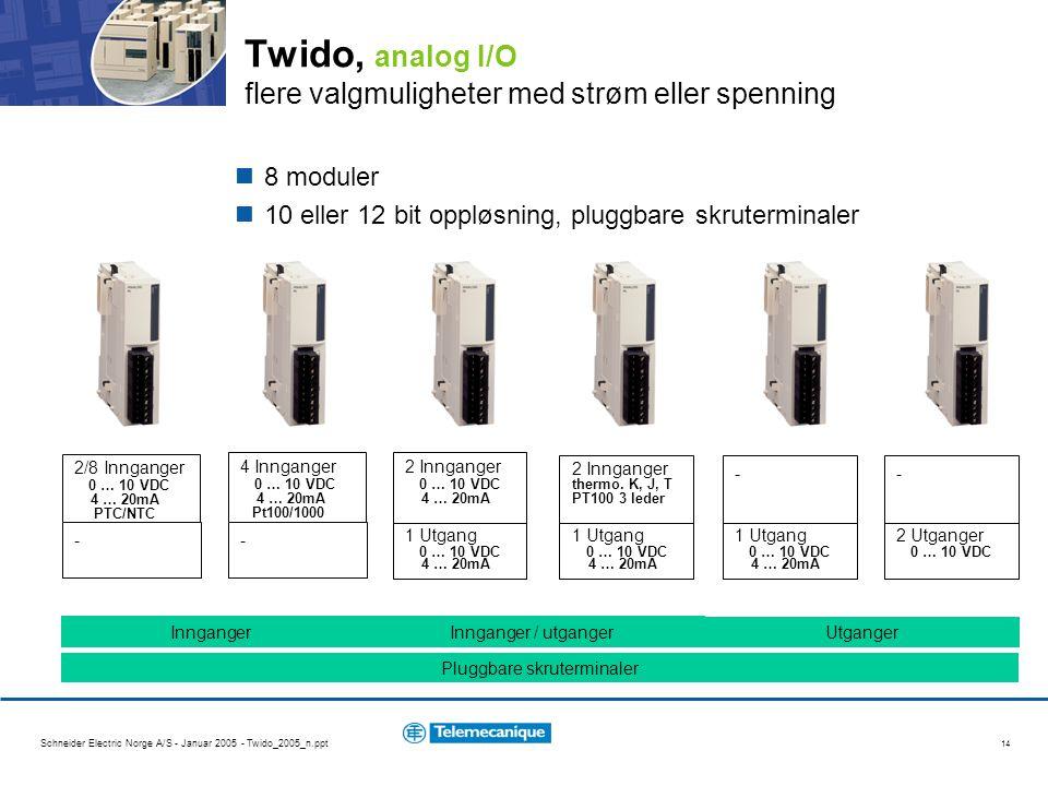 Schneider Electric Norge A/S - Januar 2005 - Twido_2005_n.ppt 14 Twido, analog I/O flere valgmuligheter med strøm eller spenning 8 moduler 10 eller 12