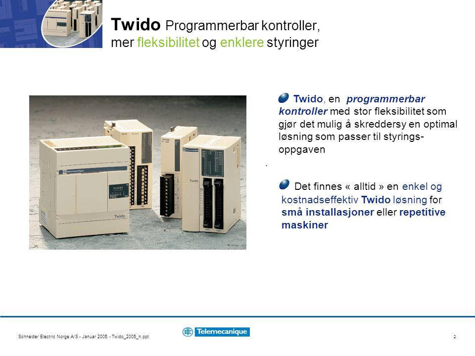 Schneider Electric Norge A/S - Januar 2005 - Twido_2005_n.ppt 2 Twido, en programmerbar kontroller med stor fleksibilitet som gjør det mulig å skreddersy en optimal løsning som passer til styrings- oppgaven.