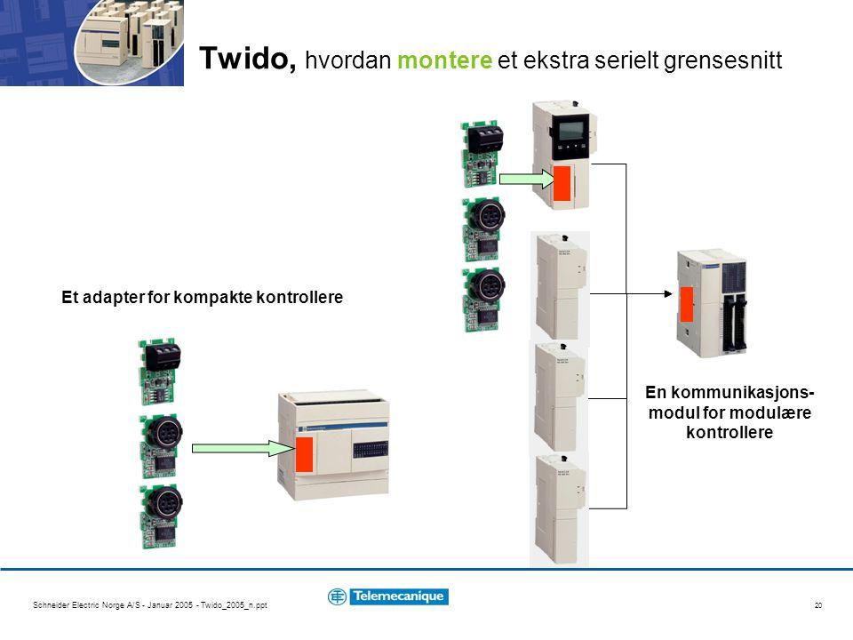 Schneider Electric Norge A/S - Januar 2005 - Twido_2005_n.ppt 20 Twido, hvordan montere et ekstra serielt grensesnitt Et adapter for kompakte kontroll