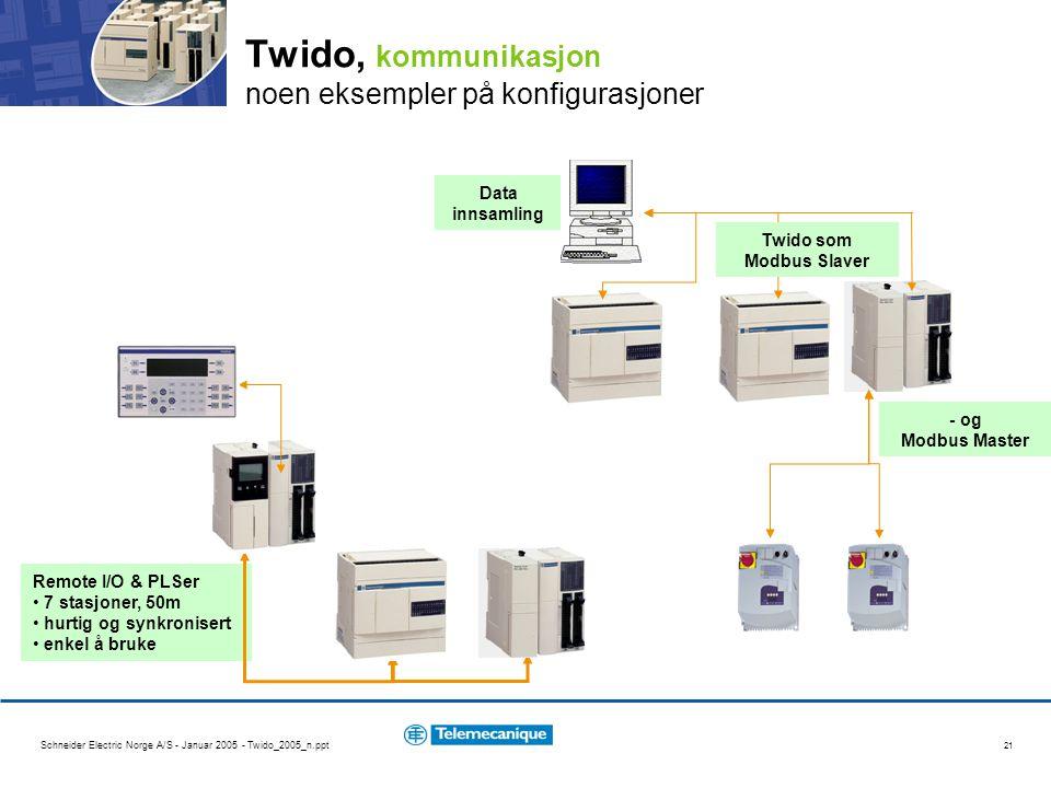 Schneider Electric Norge A/S - Januar 2005 - Twido_2005_n.ppt 21 Twido, kommunikasjon noen eksempler på konfigurasjoner Remote I/O & PLSer 7 stasjoner, 50m hurtig og synkronisert enkel å bruke Data innsamling Twido som Modbus Slaver - og Modbus Master XBT-N4