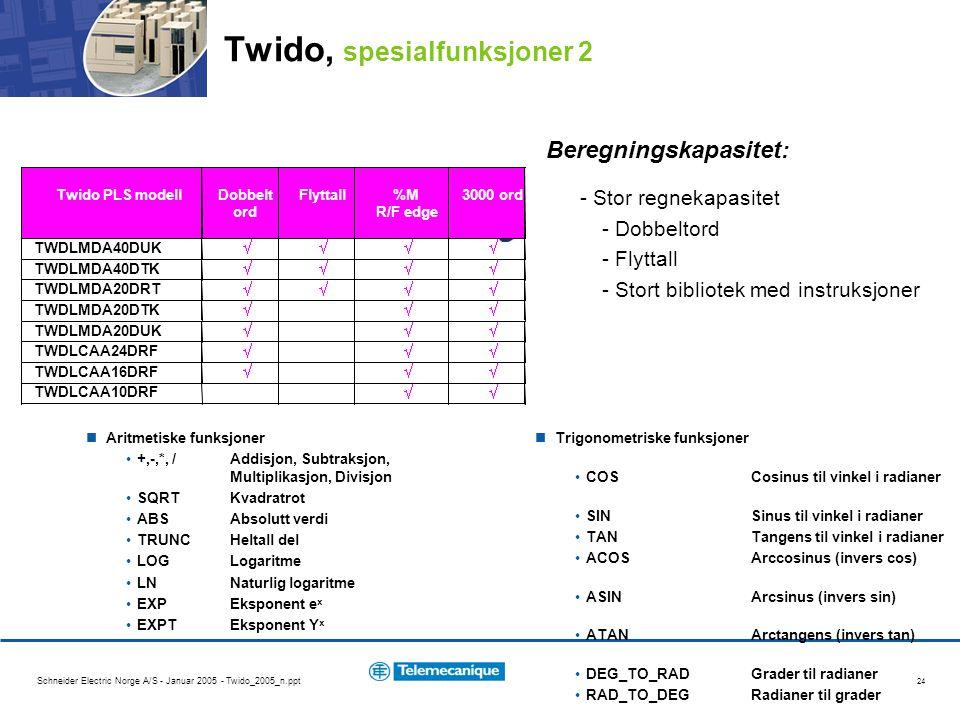 Schneider Electric Norge A/S - Januar 2005 - Twido_2005_n.ppt 24 Beregningskapasitet: - Stor regnekapasitet - Dobbeltord - Flyttall - Stort bibliotek