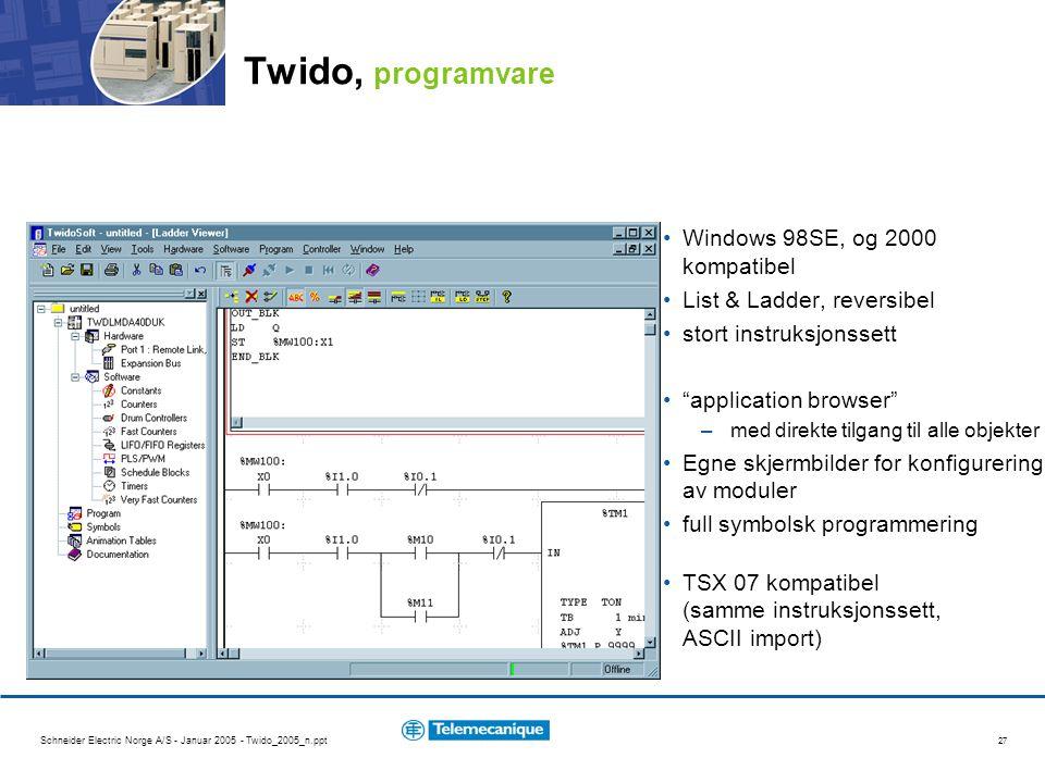 Schneider Electric Norge A/S - Januar 2005 - Twido_2005_n.ppt 27 Twido, programvare Windows 98SE, og 2000 kompatibel List & Ladder, reversibel stort i