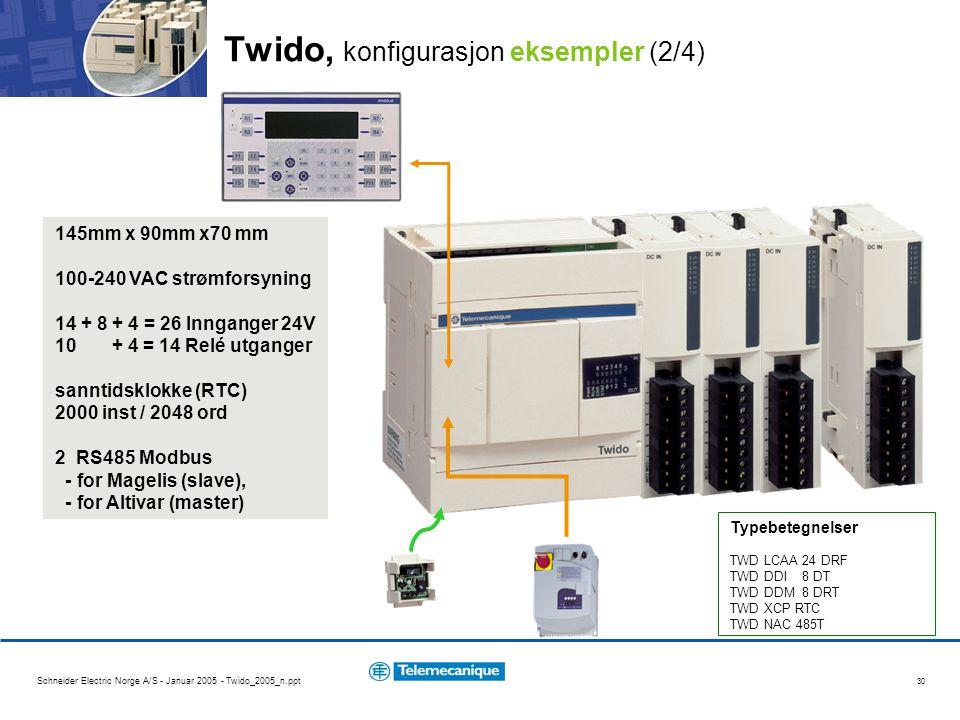 Schneider Electric Norge A/S - Januar 2005 - Twido_2005_n.ppt 30 145mm x 90mm x70 mm 100-240 VAC strømforsyning 14 + 8 + 4 = 26 Innganger 24V 10 + 4 =