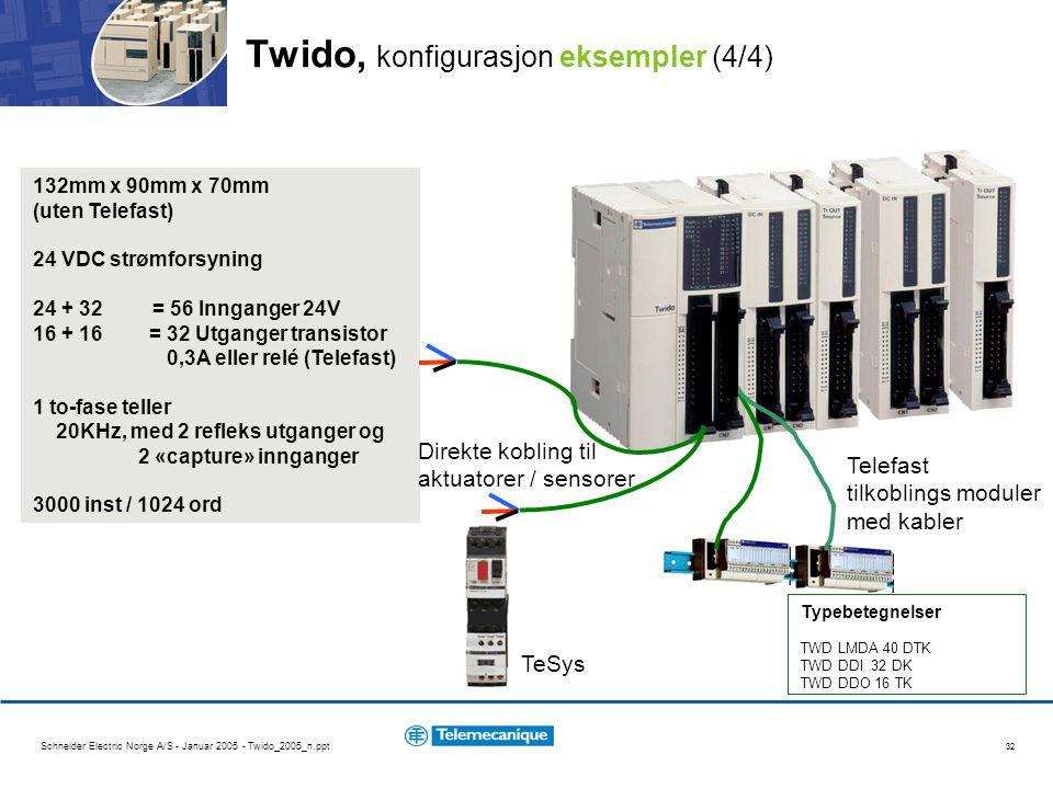 Schneider Electric Norge A/S - Januar 2005 - Twido_2005_n.ppt 32 Twido, konfigurasjon eksempler (4/4) 132mm x 90mm x 70mm (uten Telefast) 24 VDC strømforsyning 24 + 32 = 56 Innganger 24V 16 + 16 = 32 Utganger transistor 0,3A eller relé (Telefast) 1 to-fase teller 20KHz, med 2 refleks utganger og 2 «capture» innganger 3000 inst / 1024 ord Direkte kobling til aktuatorer / sensorer Telefast tilkoblings moduler med kabler TeSys Typebetegnelser TWD LMDA 40 DTK TWD DDI 32 DK TWD DDO 16 TK