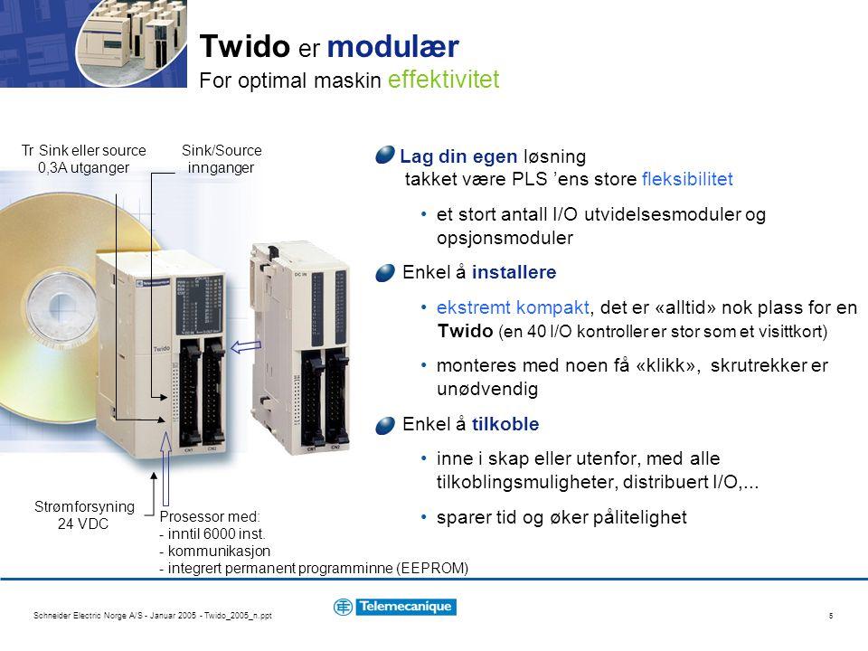 Schneider Electric Norge A/S - Januar 2005 - Twido_2005_n.ppt 5 Lag din egen løsning takket være PLS 'ens store fleksibilitet et stort antall I/O utvidelsesmoduler og opsjonsmoduler Enkel å installere ekstremt kompakt, det er «alltid» nok plass for en Twido (en 40 I/O kontroller er stor som et visittkort) monteres med noen få «klikk», skrutrekker er unødvendig Enkel å tilkoble inne i skap eller utenfor, med alle tilkoblingsmuligheter, distribuert I/O,...