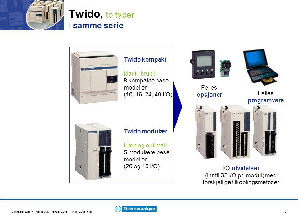Schneider Electric Norge A/S - Januar 2005 - Twido_2005_n.ppt 17 Twido, operatør display Display (uten applikasjonsprogram) kan monteres som opsjon på alle prosessorer: viser kontroller status & operativsystem versjon : –NCF, STP, RUN, ERR viser data for applikasjonen (vise & endre) : – %I %Q %IW %QW %M %MW %S %SW %KW %X %C %TM %R %SBR %FC %VFC %PLS %PWM %MSG %DR %INW %QNW nåverdier, preset verdier og grenseverdier viser serie link konfigurasjon –protokoll & adresse viser dato & klokke –dersom sanntidsklokke (RTC) opsjon er installert visning og endring av data kan bli kontrollert fra applikasjonsprogrammet