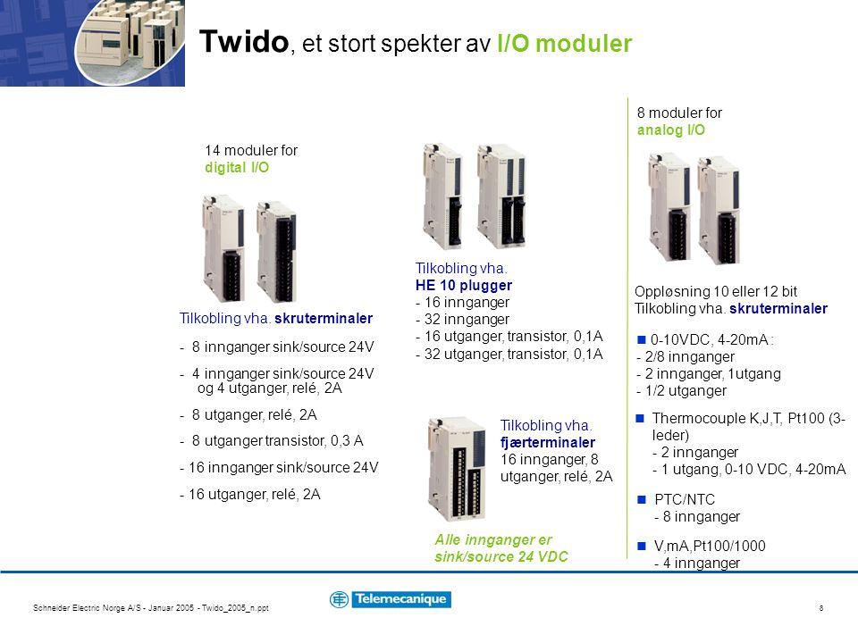 Schneider Electric Norge A/S - Januar 2005 - Twido_2005_n.ppt 8 Twido, et stort spekter av I/O moduler 14 moduler for digital I/O Tilkobling vha. skru
