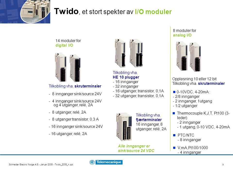 Schneider Electric Norge A/S - Januar 2005 - Twido_2005_n.ppt 9 Twido, et lite fotavtrykk krever mindre plass for montering Fotavtrykk : - 37 % 60mm 85mm 105 mm for 10 I/O 135 mm for 16 I/O 165 mm for 24 I/O TSX Nano 70mm 90mm Kompakt base : 80 mm for 10 I/O 80 mm for 16 I/O 95 mm for 24 I/O (100-240 VAC eller 24VDC strømforsyning) Twido