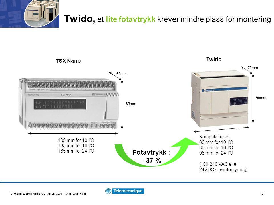 Schneider Electric Norge A/S - Januar 2005 - Twido_2005_n.ppt 30 145mm x 90mm x70 mm 100-240 VAC strømforsyning 14 + 8 + 4 = 26 Innganger 24V 10 + 4 = 14 Relé utganger sanntidsklokke (RTC) 2000 inst / 2048 ord 2 RS485 Modbus - for Magelis (slave), - for Altivar (master) Twido, konfigurasjon eksempler (2/4) Typebetegnelser TWD LCAA 24 DRF TWD DDI 8 DT TWD DDM 8 DRT TWD XCP RTC TWD NAC 485T