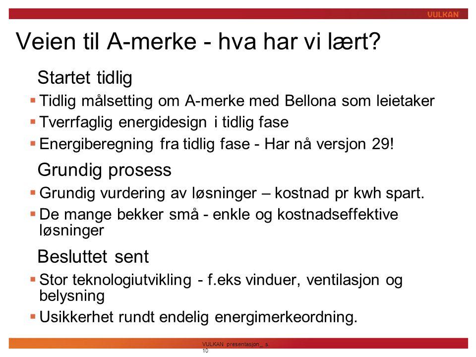 VULKAN presentasjon _ s. 10 Veien til A-merke - hva har vi lært?  Startet tidlig  Tidlig målsetting om A-merke med Bellona som leietaker  Tverrfagl