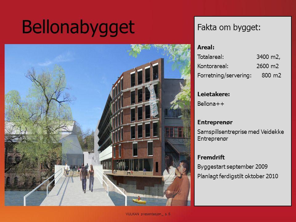 VULKAN presentasjon _ s. 5 Bellonabygget Fakta om bygget: Areal: Totalareal: 3400 m2, Kontorareal:2600 m2 Forretning/servering: 800 m2 Leietakere: Bel