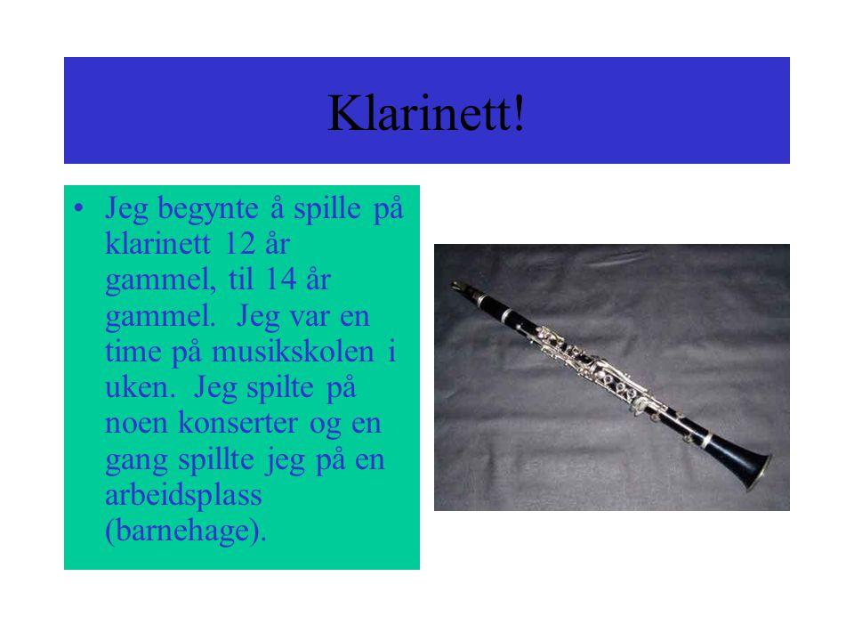 Klarinett.Jeg begynte å spille på klarinett 12 år gammel, til 14 år gammel.