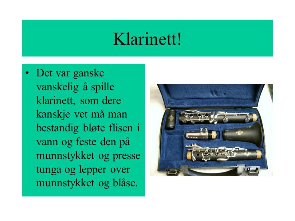 Det var ganske vanskelig å spille klarinett, som dere kanskje vet må man bestandig bløte flisen i vann og feste den på munnstykket og presse tunga og lepper over munnstykket og blåse.