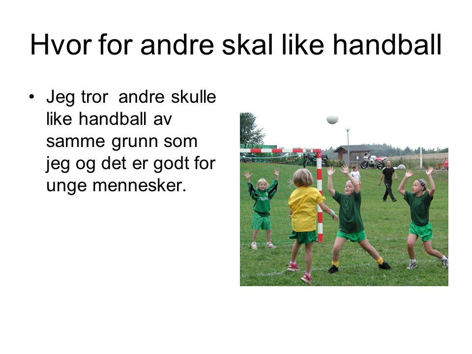Hvor for andre skal like handball Jeg tror andre skulle like handball av samme grunn som jeg og det er godt for unge mennesker.