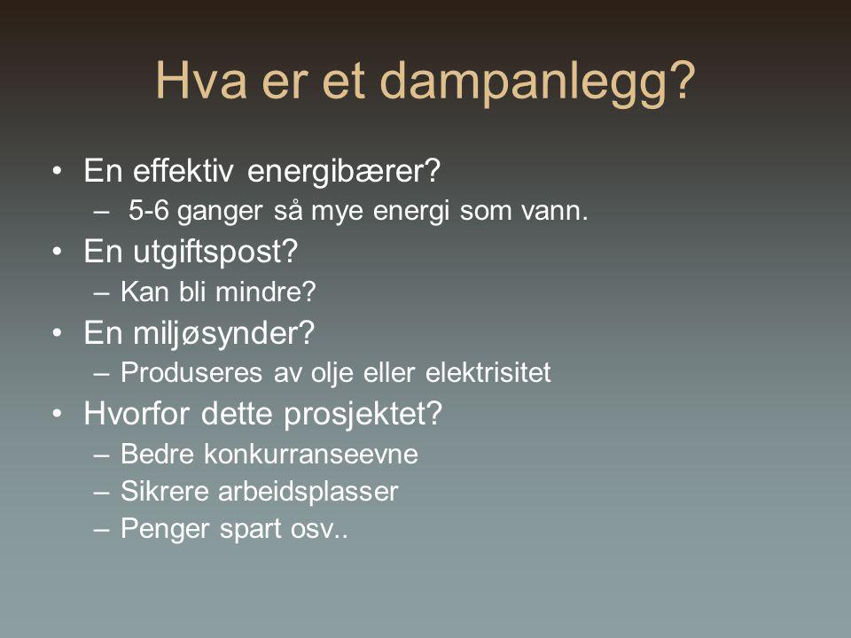 Hva er et dampanlegg.En effektiv energibærer. – 5-6 ganger så mye energi som vann.