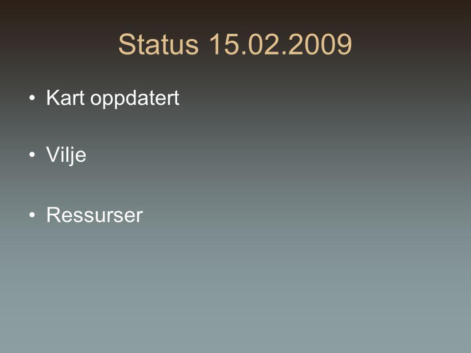 Status 15.02.2009 Kart oppdatert Vilje Ressurser