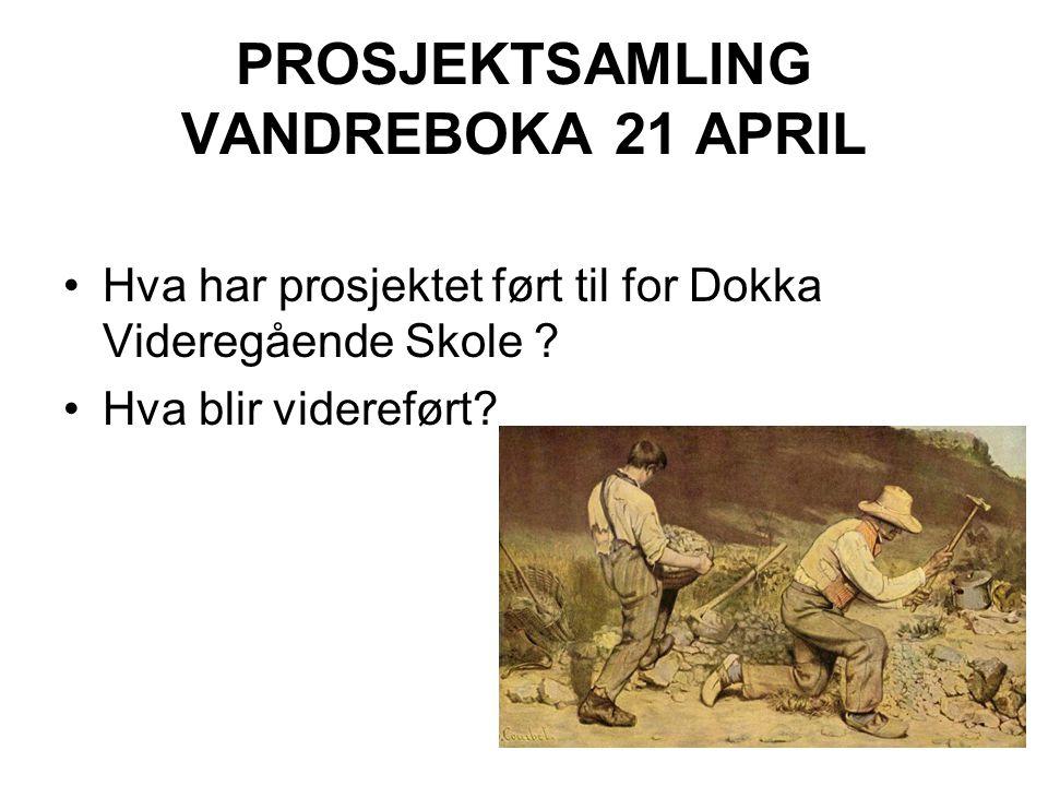 PROSJEKTSAMLING VANDREBOKA 21 APRIL Hva har prosjektet ført til for Dokka Videregående Skole .
