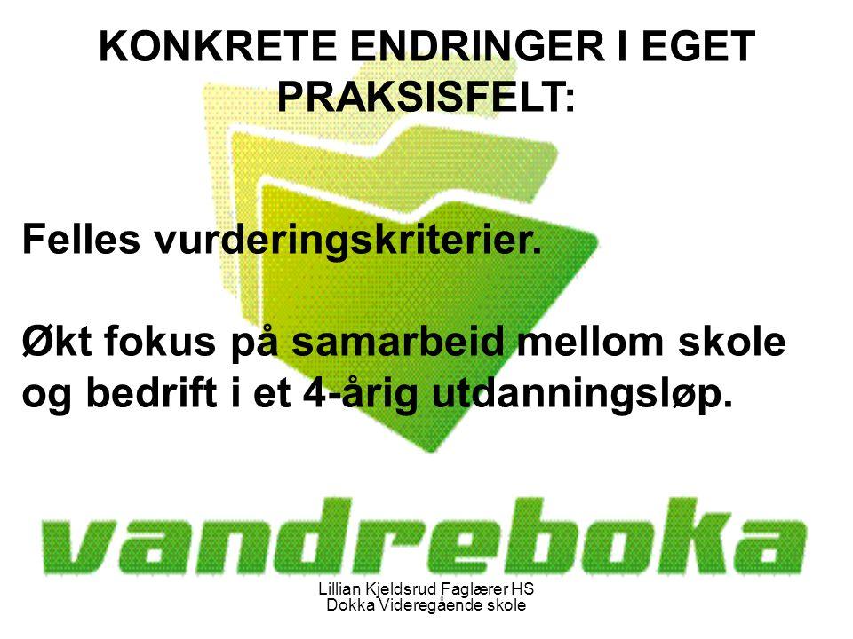 Lillian Kjeldsrud Faglærer HS Dokka Videregående skole KONKRETE ENDRINGER I EGET PRAKSISFELT: Felles vurderingskriterier.