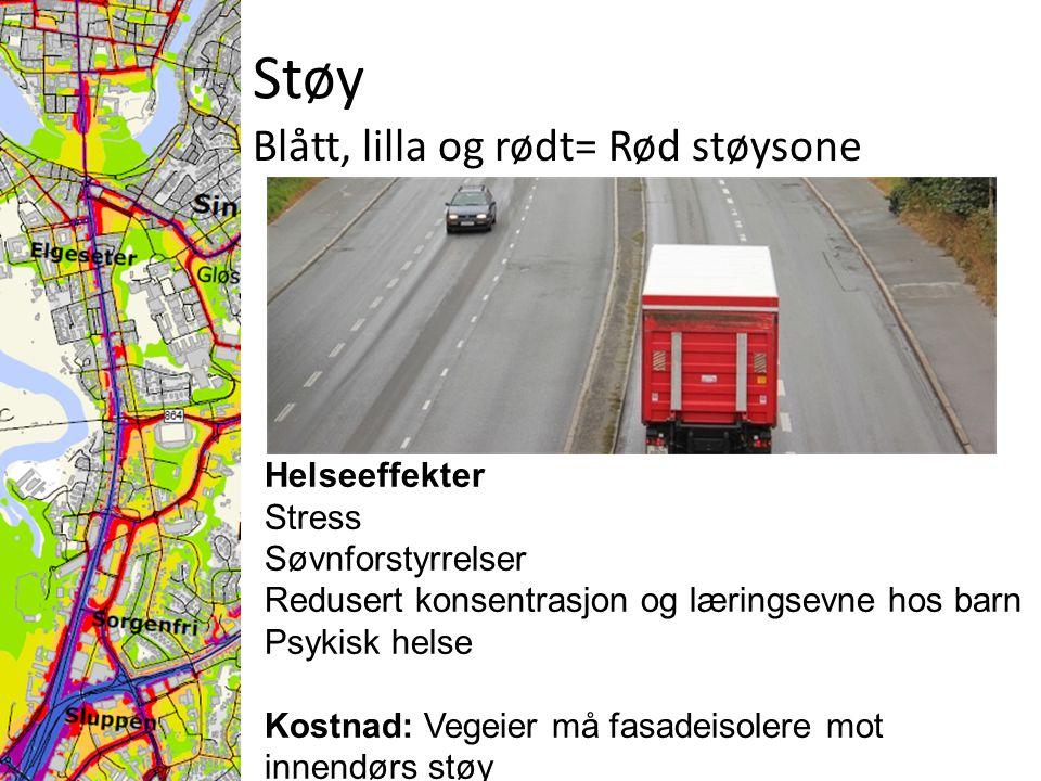 Støy Blått, lilla og rødt= Rød støysone Helseeffekter Stress Søvnforstyrrelser Redusert konsentrasjon og læringsevne hos barn Psykisk helse Kostnad: Vegeier må fasadeisolere mot innendørs støy