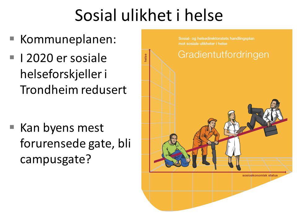 Sosial ulikhet i helse  Kommuneplanen:  I 2020 er sosiale helseforskjeller i Trondheim redusert  Kan byens mest forurensede gate, bli campusgate