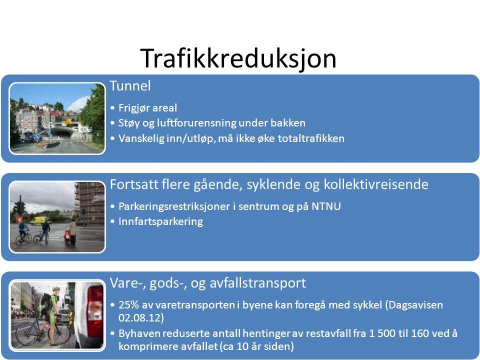 Trafikkreduksjon Tunnel Frigjør areal Støy og luftforurensning under bakken Vanskelig inn/utløp, må ikke øke totaltrafikken Fortsatt flere gående, syklende og kollektivreisende Parkeringsrestriksjoner i sentrum og på NTNU Innfartsparkering Vare-, gods-, og avfallstransport 25% av varetransporten i byene kan foregå med sykkel (Dagsavisen 02.08.12) Byhaven reduserte antall hentinger av restavfall fra 1 500 til 160 ved å komprimere avfallet (ca 10 år siden)