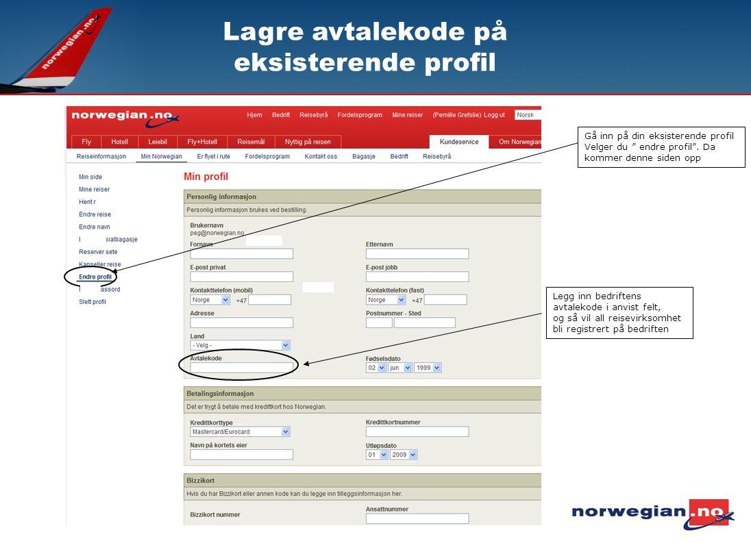 """Legg inn bedriftens avtalekode i anvist felt, og så vil all reisevirksomhet bli registrert på bedriften Gå inn på din eksisterende profil Velger du """""""