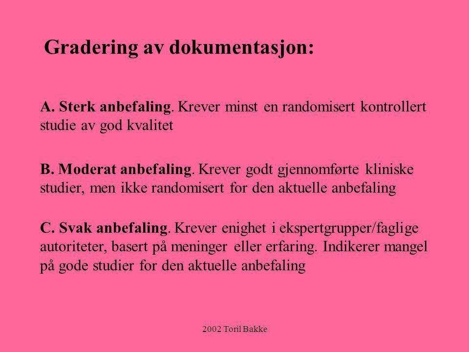 2002 Toril Bakke Gradering av dokumentasjon: A. Sterk anbefaling. Krever minst en randomisert kontrollert studie av god kvalitet B. Moderat anbefaling