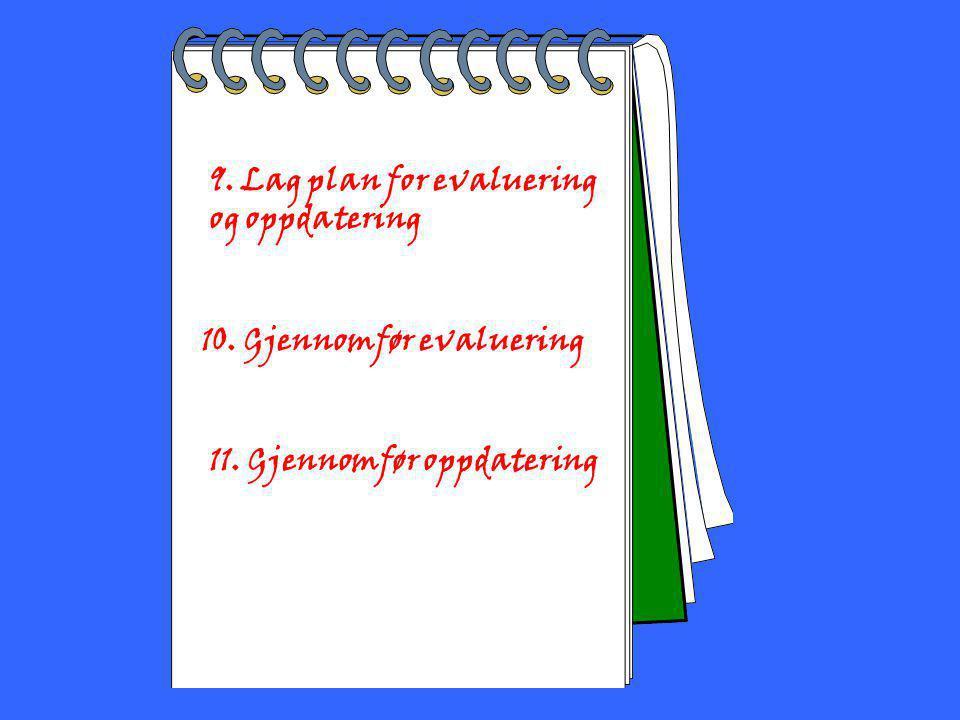 2002 Toril Bakke 9. Lag plan for evaluering og oppdatering 10. Gjennomfør evaluering 11. Gjennomfør oppdatering