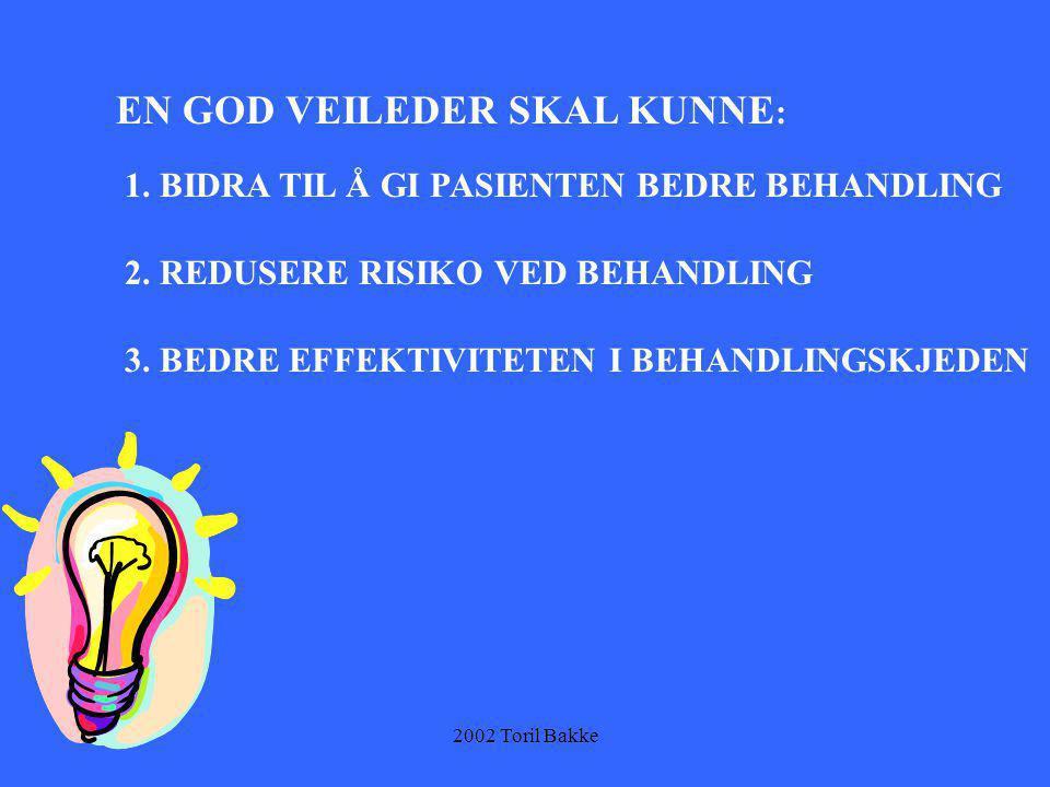 2002 Toril Bakke EN GOD VEILEDER SKAL KUNNE : 1. BIDRA TIL Å GI PASIENTEN BEDRE BEHANDLING 2. REDUSERE RISIKO VED BEHANDLING 3. BEDRE EFFEKTIVITETEN I