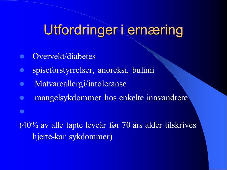 Utfordringer i ernæring Overvekt/diabetes spiseforstyrrelser, anoreksi, bulimi Matvareallergi/intoleranse mangelsykdommer hos enkelte innvandrere (40%