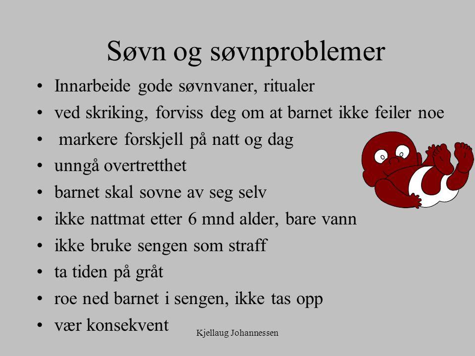 Kjellaug Johannessen Søvn og søvnproblemer Innarbeide gode søvnvaner, ritualer ved skriking, forviss deg om at barnet ikke feiler noe markere forskjel