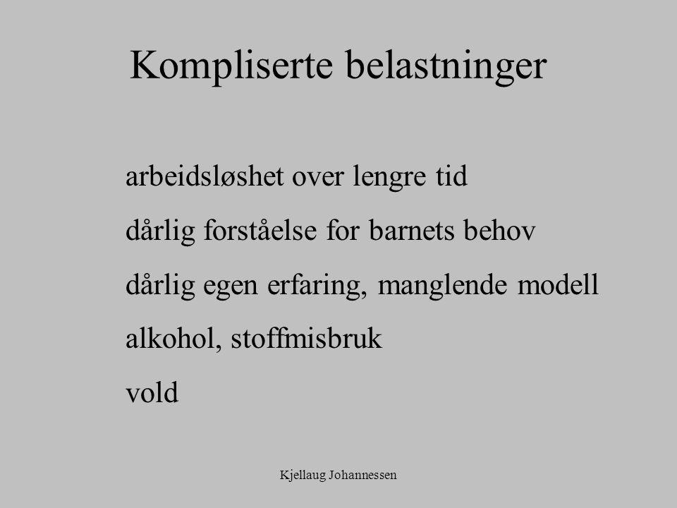 Kjellaug Johannessen Kompliserte belastninger arbeidsløshet over lengre tid dårlig forståelse for barnets behov dårlig egen erfaring, manglende modell alkohol, stoffmisbruk vold
