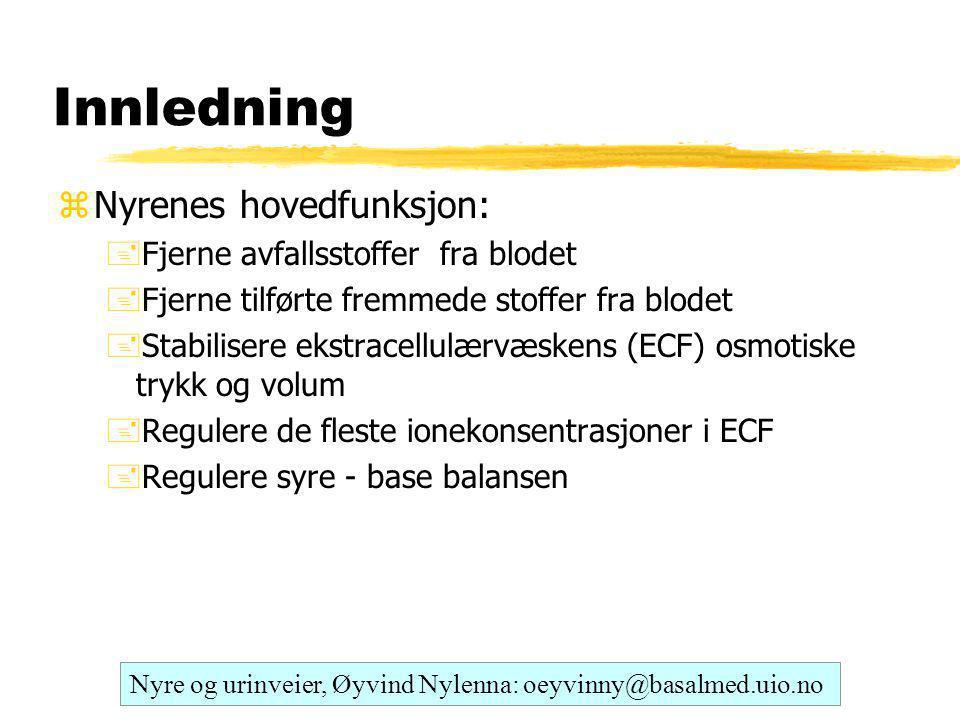 Innledning zNyrenes hovedfunksjon: +Fjerne avfallsstoffer fra blodet +Fjerne tilførte fremmede stoffer fra blodet +Stabilisere ekstracellulærvæskens (ECF) osmotiske trykk og volum +Regulere de fleste ionekonsentrasjoner i ECF +Regulere syre - base balansen Nyre og urinveier, Øyvind Nylenna: oeyvinny@basalmed.uio.no