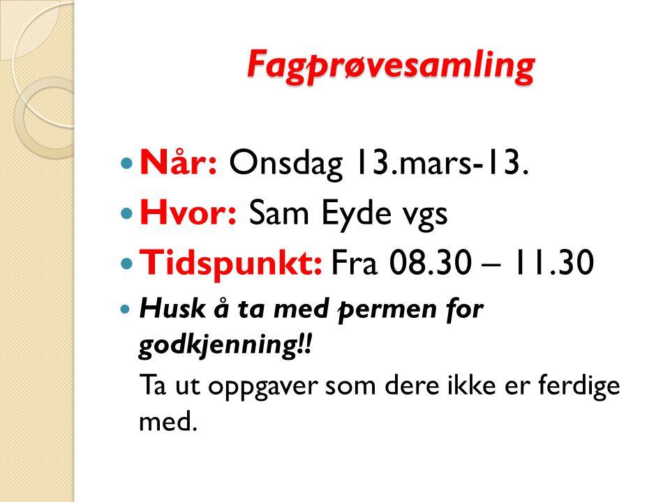 Fagprøvesamling Når: Onsdag 13.mars-13.