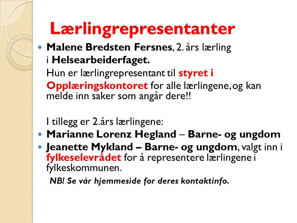 Lærlingrepresentanter Malene Bredsten Fersnes, 2. års lærling i Helsearbeiderfaget.