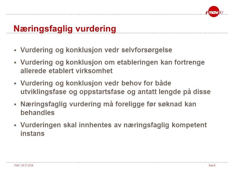 NAV, 18.07.2014Side 6 Næringsfaglig vurdering  Vurdering og konklusjon vedr selvforsørgelse  Vurdering og konklusjon om etableringen kan fortrenge a