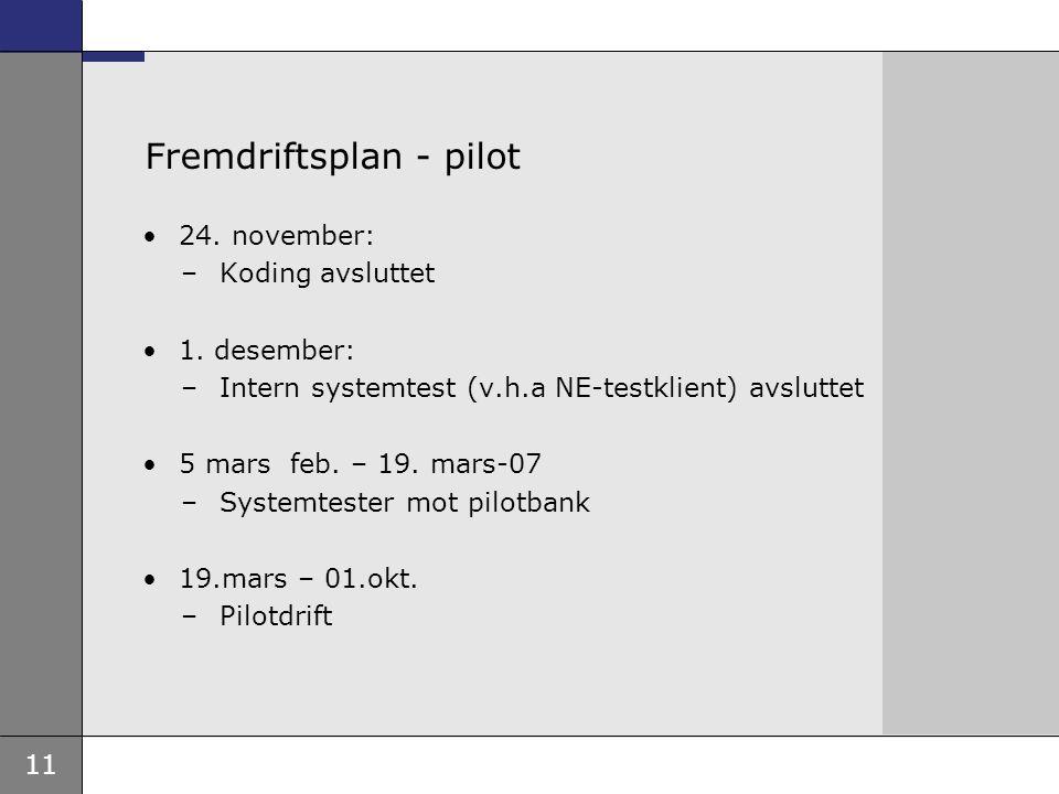 11 Fremdriftsplan - pilot 24. november: –Koding avsluttet 1. desember: –Intern systemtest (v.h.a NE-testklient) avsluttet 5 mars feb. – 19. mars-07 –S