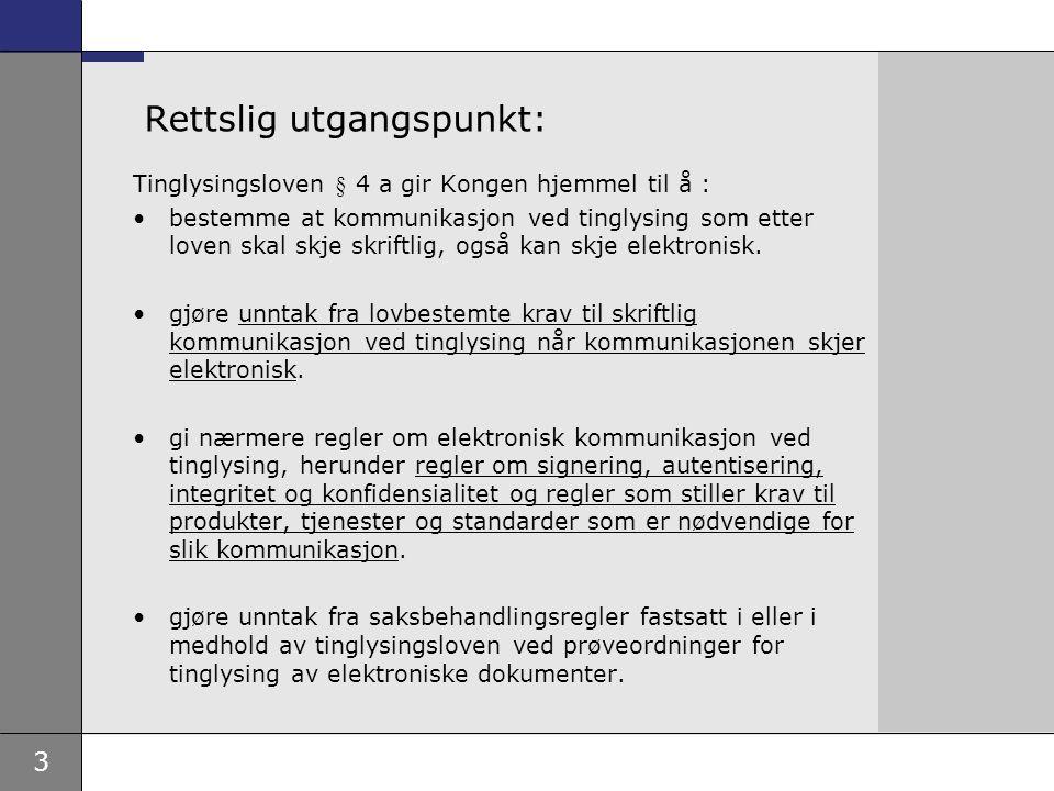 3 Rettslig utgangspunkt: Tinglysingsloven § 4 a gir Kongen hjemmel til å : bestemme at kommunikasjon ved tinglysing som etter loven skal skje skriftli