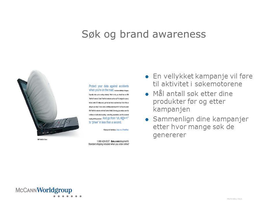Søk og brand awareness  En vellykket kampanje vil føre til aktivitet i søkemotorene  Mål antall søk etter dine produkter før og etter kampanjen  Sammenlign dine kampanjer etter hvor mange søk de genererer