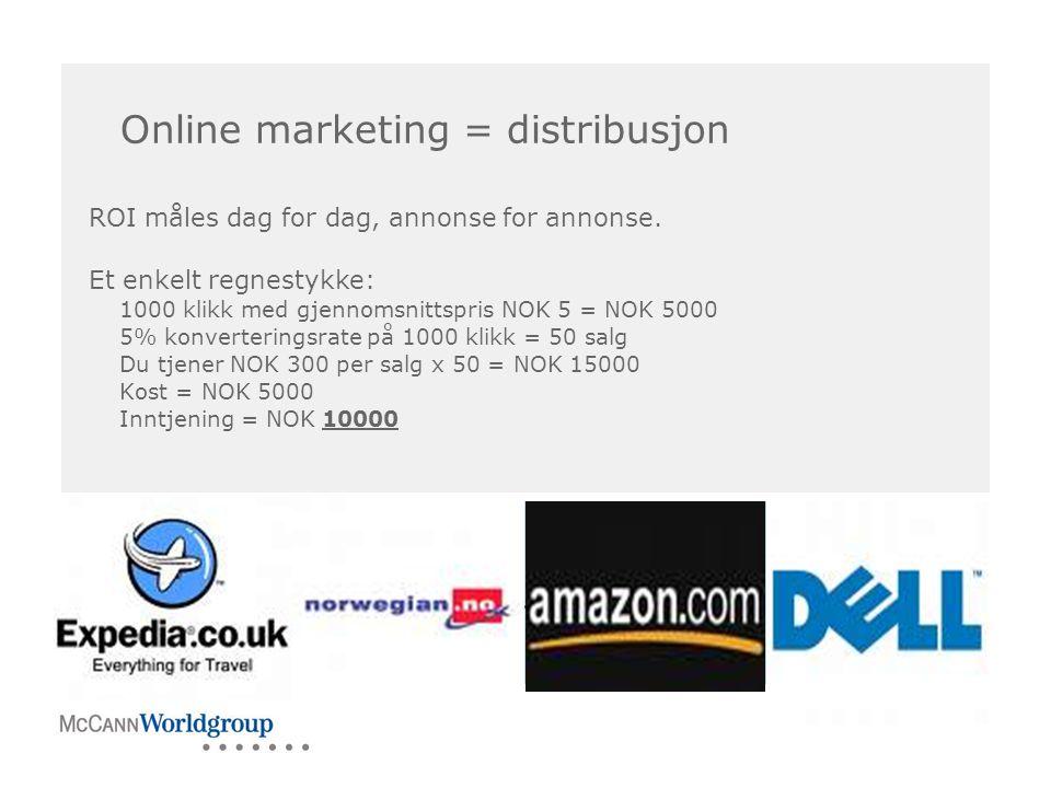 BILDE Online marketing = distribusjon ROI måles dag for dag, annonse for annonse. Et enkelt regnestykke: 1000 klikk med gjennomsnittspris NOK 5 = NOK