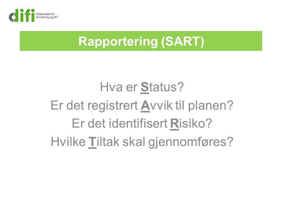 Rapportering (SART) Hva er Status? Er det registrert Avvik til planen? Er det identifisert Risiko? Hvilke Tiltak skal gjennomføres?