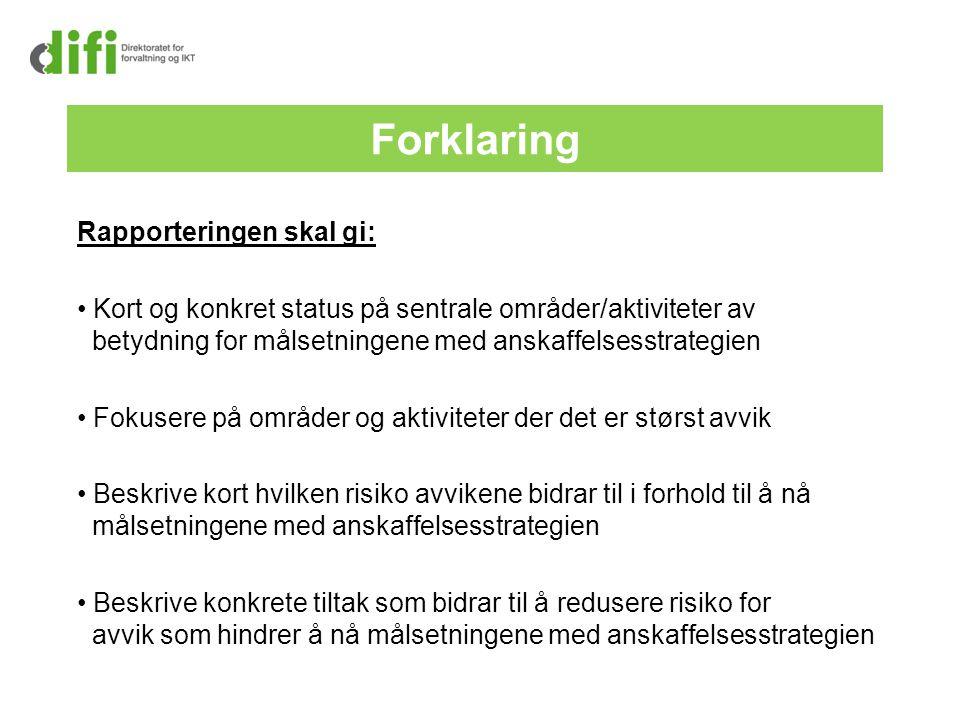 Forklaring Rapporteringen skal gi: Kort og konkret status på sentrale områder/aktiviteter av betydning for målsetningene med anskaffelsesstrategien Fo
