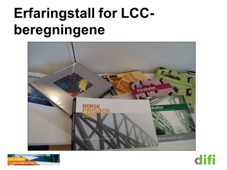 Erfaringstall for LCC- beregningene