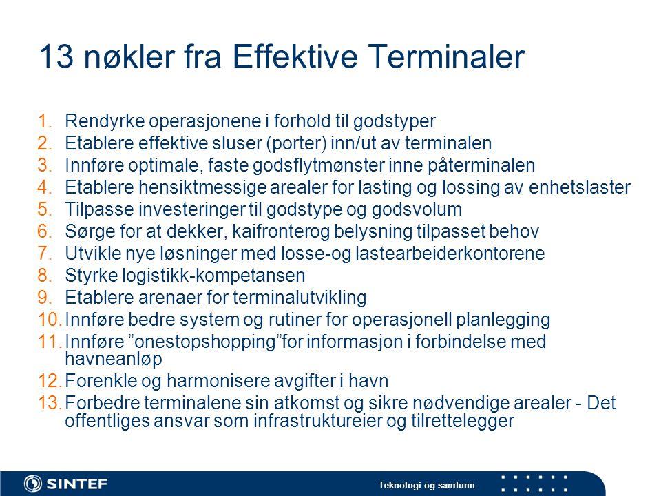 Teknologi og samfunn 13 nøkler fra Effektive Terminaler 1.Rendyrke operasjonene i forhold til godstyper 2.Etablere effektive sluser (porter) inn/ut av