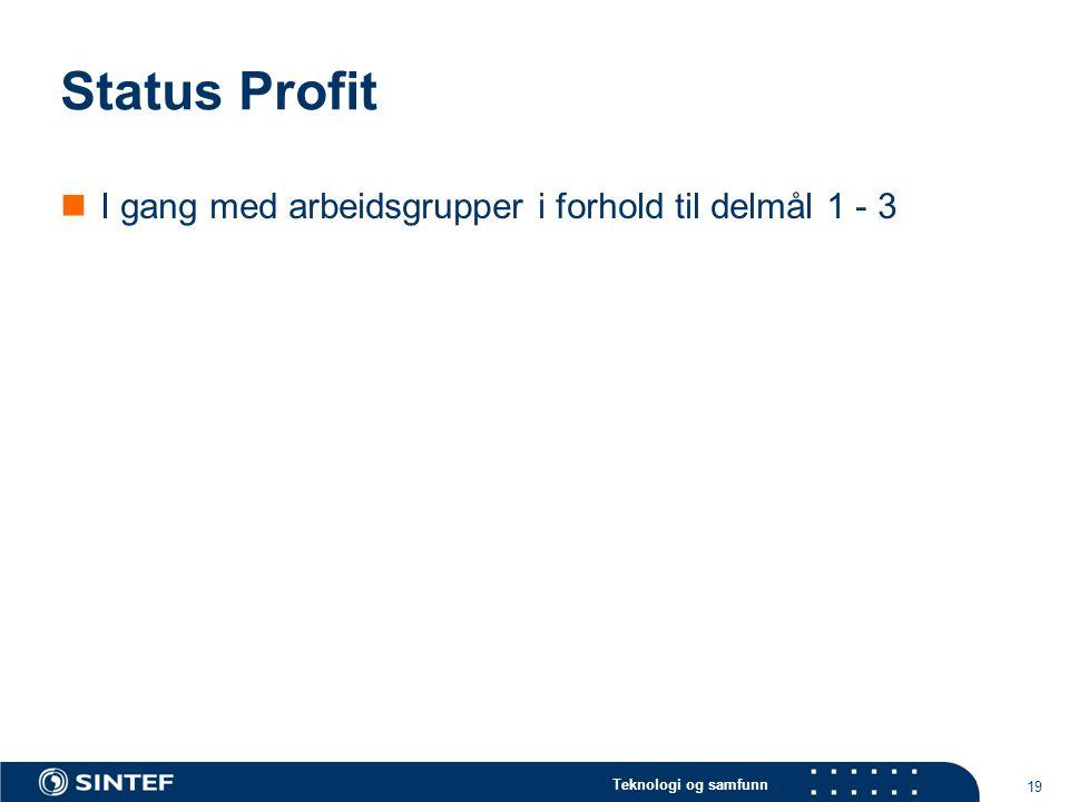 Teknologi og samfunn Status Profit I gang med arbeidsgrupper i forhold til delmål 1 - 3 19