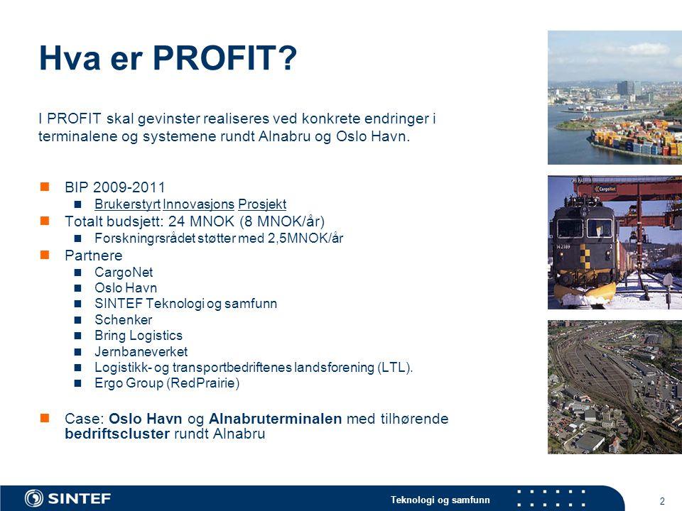Teknologi og samfunn 2 Hva er PROFIT? BIP 2009-2011 Brukerstyrt Innovasjons Prosjekt Totalt budsjett: 24 MNOK (8 MNOK/år) Forskningrsrådet støtter med