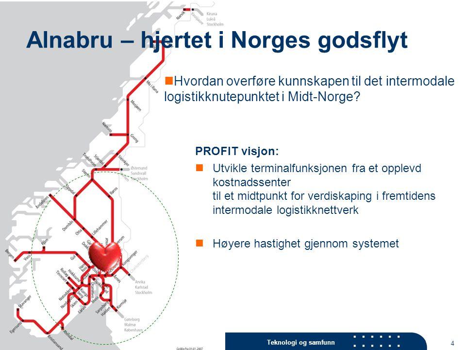 Teknologi og samfunn 4 Alnabru – hjertet i Norges godsflyt PROFIT visjon: Utvikle terminalfunksjonen fra et opplevd kostnadssenter til et midtpunkt fo