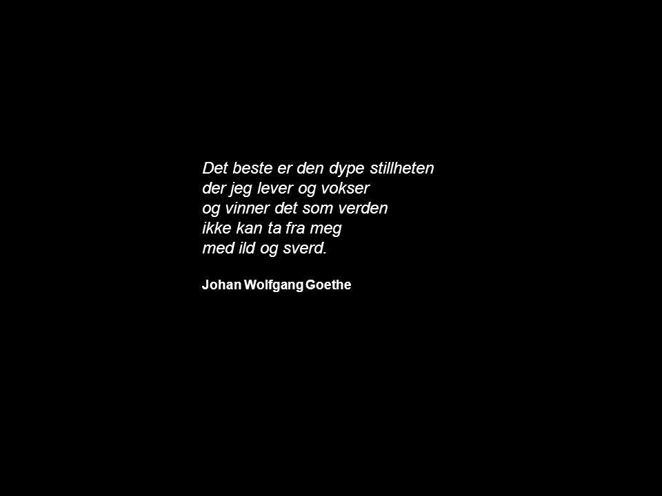 Det beste er den dype stillheten der jeg lever og vokser og vinner det som verden ikke kan ta fra meg med ild og sverd. Johan Wolfgang Goethe