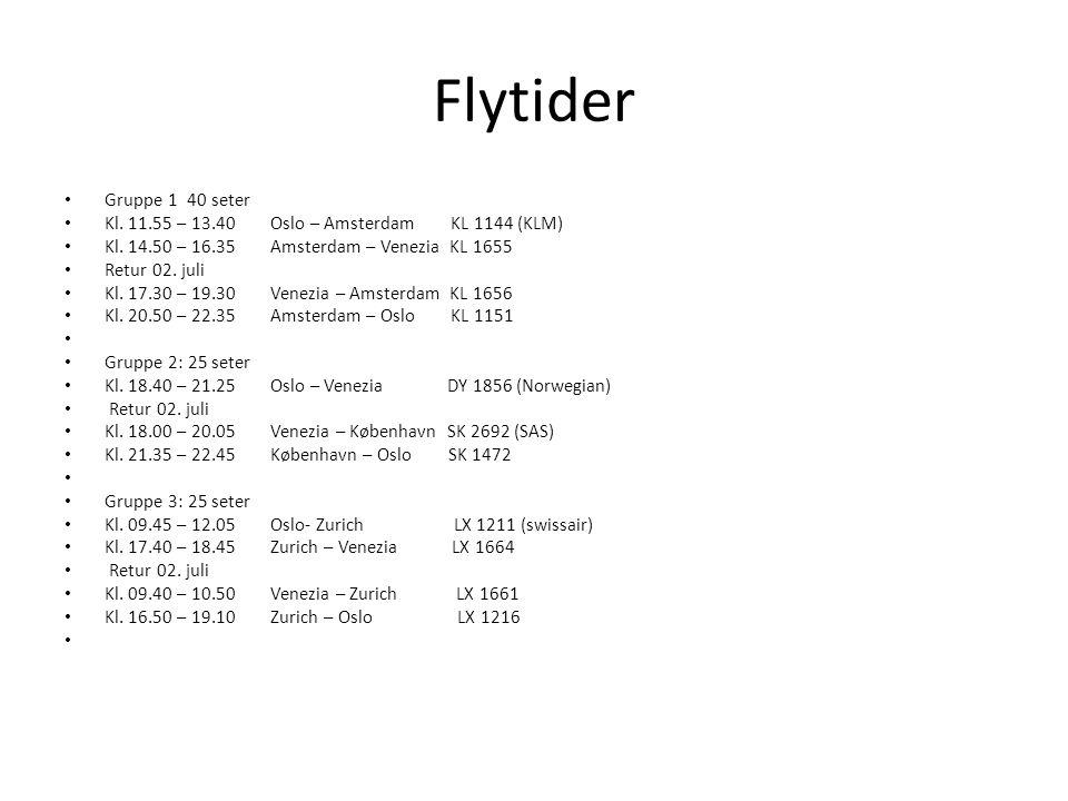 Flytider Gruppe 1 40 seter Kl.11.55 – 13.40 Oslo – Amsterdam KL 1144 (KLM) Kl.